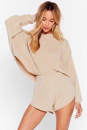 Oatmeal Knit's Bound to Happen Sweater and Shorts Set