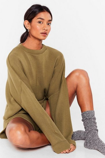 Olive Knit's Bound to Happen Sweater and Shorts Set