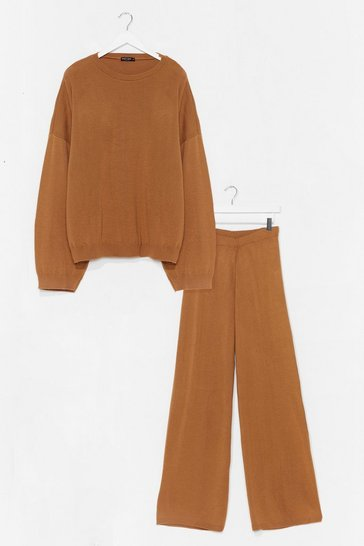 Camel You've Met Your Match Knitted Sweater and Pants