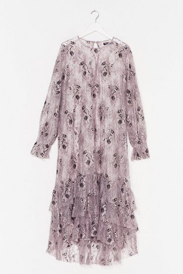 Mauve Conversation Starter Lace Midi Dress