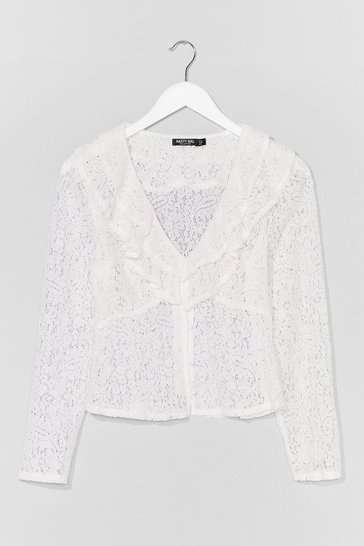 White Know Your Lace V-Neck Ruffle Blouse