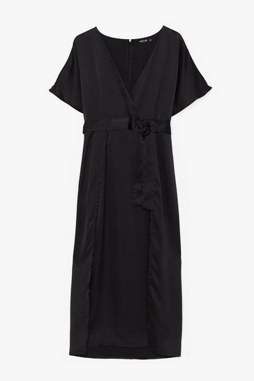 Black Plus Wrap Plunge Satin S/S Maxi Dress