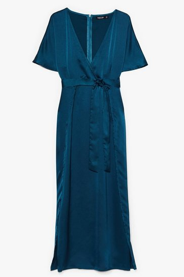 Teal Plus Wrap Plunge Satin S/S Maxi Dress