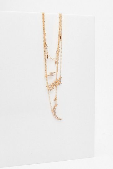 Gold Always Be My Baby Layered Pendant Necklace
