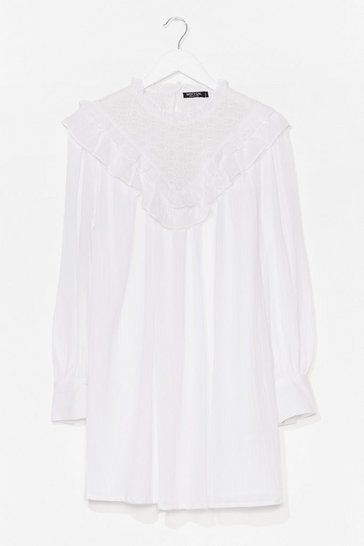 White Crochet Yoke Cotton Smock Dress
