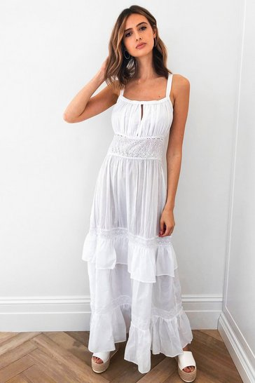 White Right Tier Right Now Broderie Maxi Dress