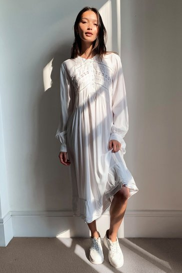 White Lace Panel Button Down Midi Dress
