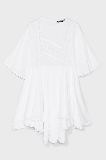 White Lace Panel Smock Dress