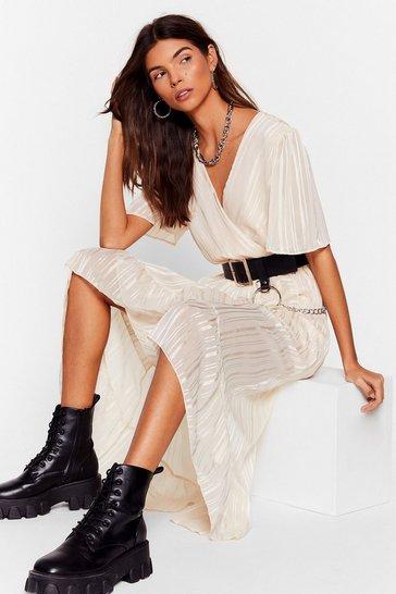 White Whatever's Stripe for You Wrap Midi Dress