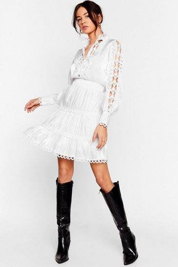 White You Turn Me Inside Cut-Out Broderie Mini Dress