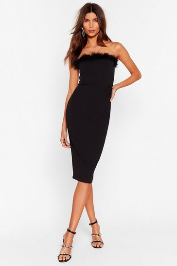 Black Feather Look Back Bandeau Midi Dress