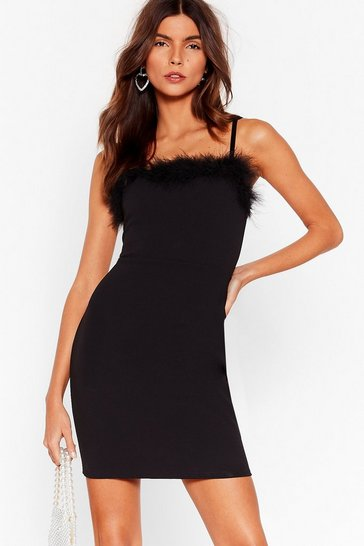 Black Feather a Dull Moment Fitted Mini Dress