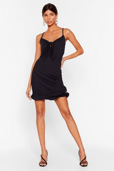 Black In the Flick of Time Tie Mini Dress