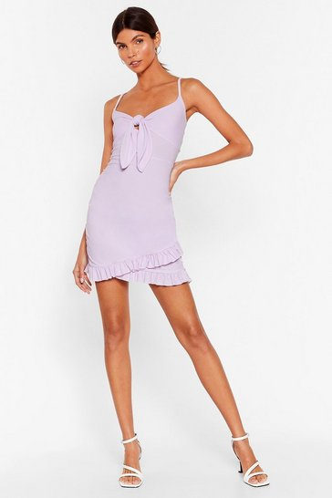Lilac In the Flick of Time Tie Mini Dress