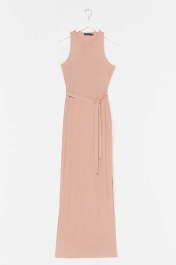 Stone Slit 'Em Up Belted Maxi Dress