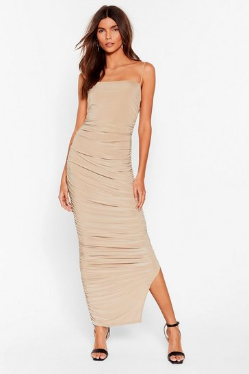 Stone Only Fools Ruche In Midi Dress