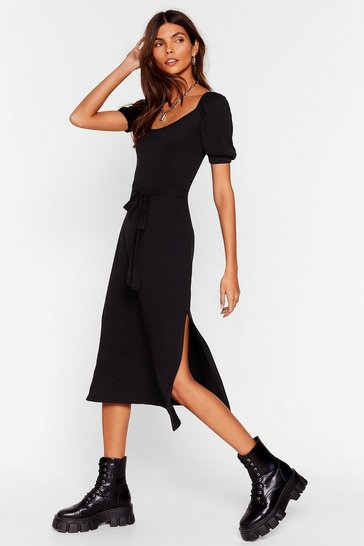 Black Half Way There Belted Midi Dress