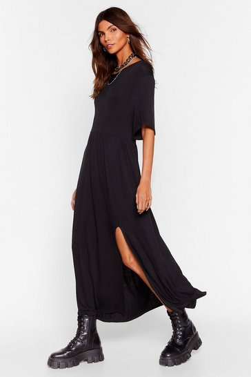 Black Slip of the Lip Slit Midi Dress