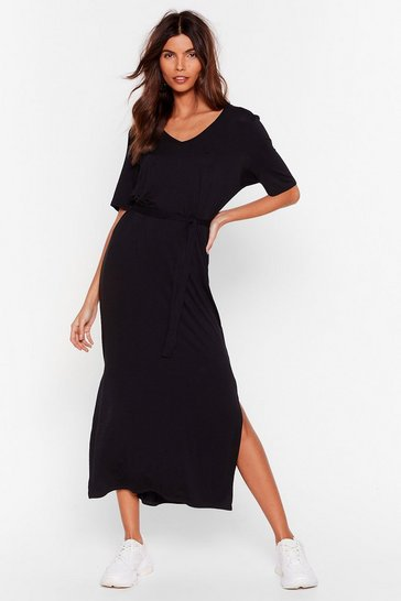 Black Tie'rd of the BS Belted Midi Dress