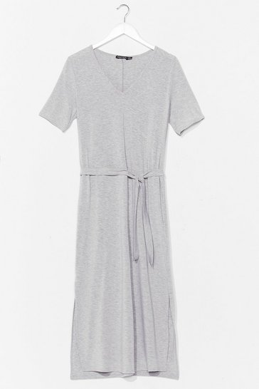 Grey marl Tie'rd of the BS Belted Midi Dress