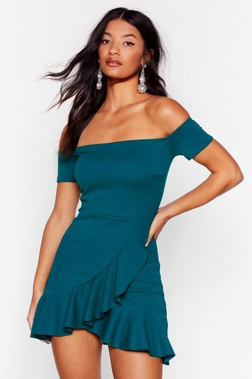 Teal Show Me Off-the-Shoulder Mini Dress