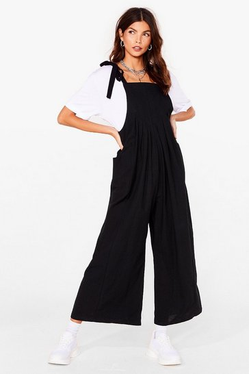Black Pleated Wide Leg Overalls