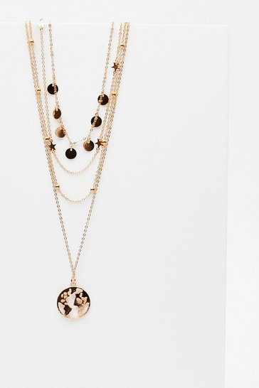 Gold Globe Pendant Four Chain Multi Layer Necklace