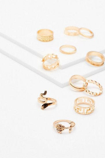 Gold Give Us a Hand 10-Pc Ring Set