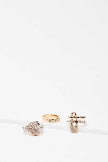 Gold Safety Pin Multi Ring Pack