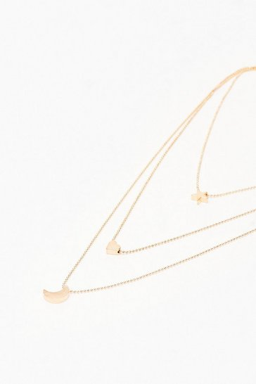 Gold Moon Star + Heart Layered Necklace