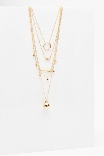 Gold Fine GEO Pendant Multi Layered Necklace