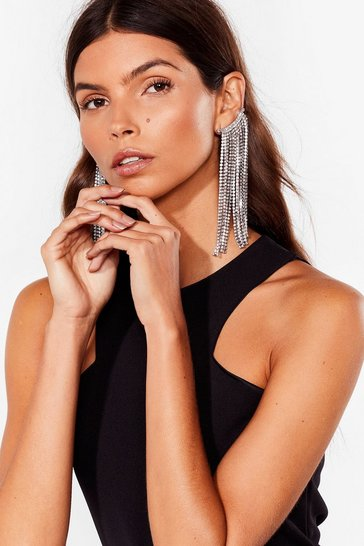 Silver Did You Ear Diamante Cuff Earrings