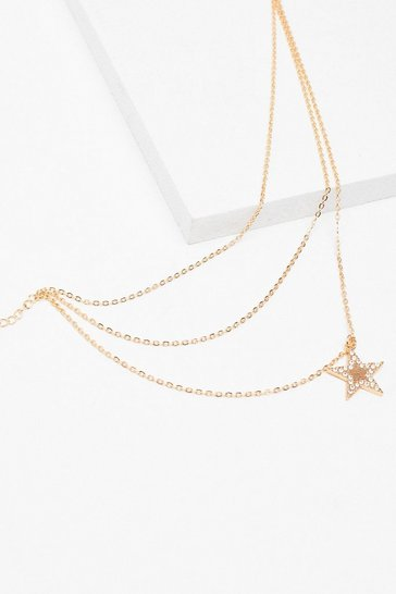 Gold Star Diamante Dainty Necklace