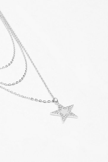 Silver Star Diamante Dainty Necklace