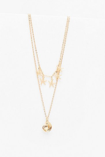 Gold Shell Double Layered Dainty Necklace