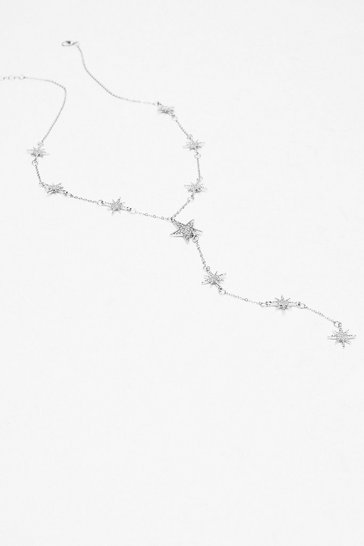 Silver Star-t the Party Diamante Drop Necklace