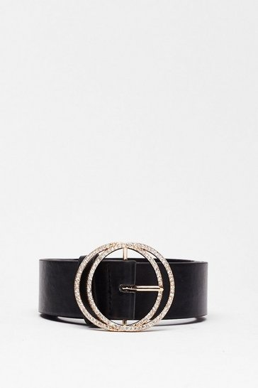 Black In the Ring Diamante Circle Belt