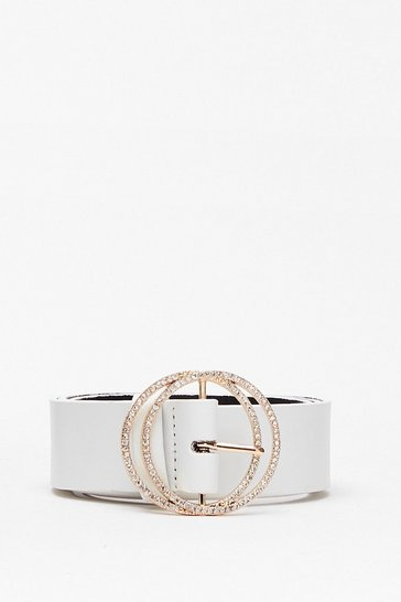 White In the Ring Diamante Circle Belt