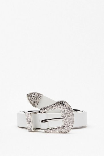 White Callin' All Country Queens Diamante Belt