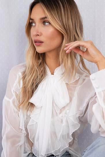Cream I See You Sheer Ruffle Blouse
