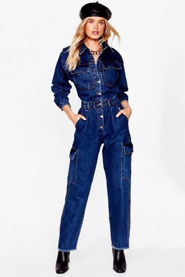 Indigo Let's Work It Out Denim Utility Boilersuit