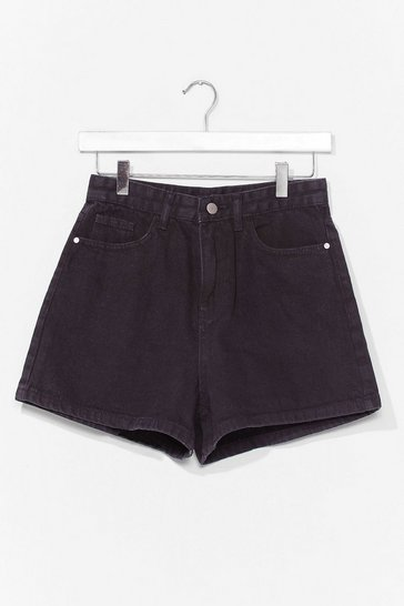 Washed black Gimme Some Space Denim Mom Shorts
