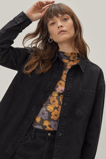 Washed black Washed Out Oversized Shacket