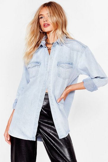 Bleach wash Hey Wash Out Oversized Denim Shirt