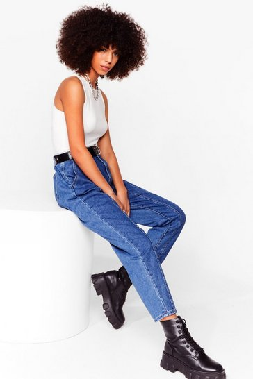 Dark blue We Seam It Coming High-Waisted Mom Jeans