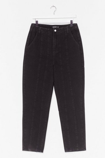 Washed black We Seam It Coming High-Waisted Mom Jeans