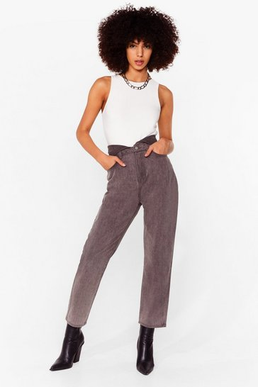 Light grey Do As You're Fold High-Waisted Mom Jeans