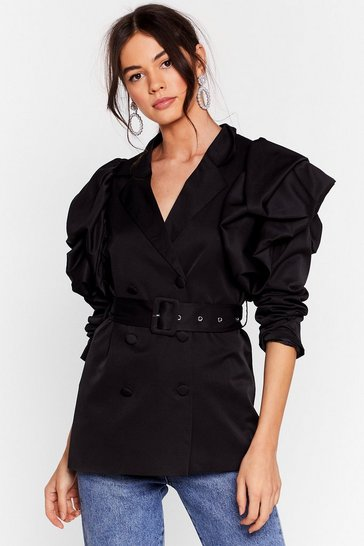 Black Power Play Belted Puff Shoulder Blazer
