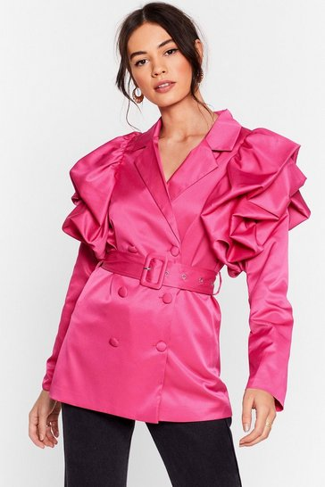 Pink Power Play Belted Puff Shoulder Blazer