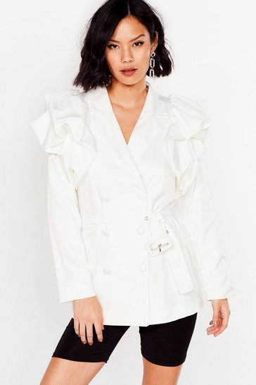 White Power Play Belted Puff Shoulder Blazer